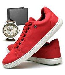 kit tênis sapatênis casual fashion com carteira e relógio new dubuy940el vermelho