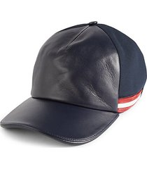 striped leather & canvas cap
