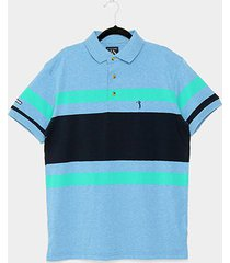 camisa polo aleatory fio tinto listrada masculina