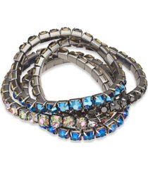 inc hematite-tone 4-pc. set crystal stretch bracelets, created for macy's