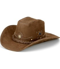 chapéu fourcountry americano couro tabaco trançado bege