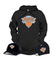 moletom canguru e boné preto com máscara personalizado time de basquete new york knicks