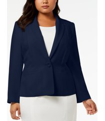kasper plus size one-button crepe blazer