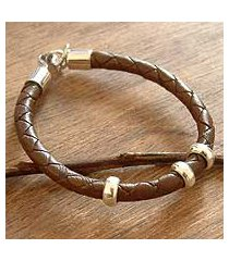 men's leather bracelet, 'at hand' (peru)