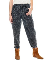 slouchy jeans high waist estampado animal print (se sugiere comprar una talla menos a la habitual) color blue