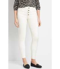 maurices womens vintage high rise ecru colored button fly jegging beige
