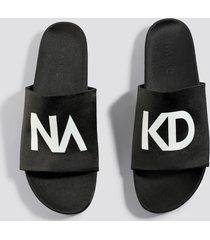 na-kd shoes na-kd satin slippers - black