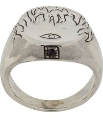 henson engraved flames & eye ring with ruby - silver