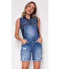 macacão jeans zait meia coxa emilia - feminino