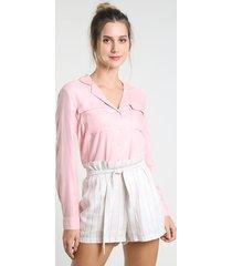camisa feminina com bolso manga longa rosa claro