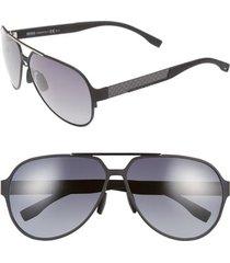 boss 63mm aviator sunglasses in black ruthenium/grey gradient at nordstrom