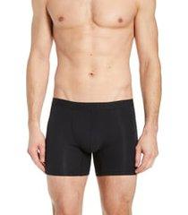 men's hanro stretch cotton essentials long-leg boxer briefs, size small - black