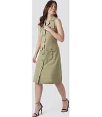 trendyol buttoned linen dress - green