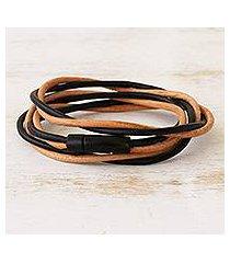 leather cord bracelet, 'different rivers' (brazil)