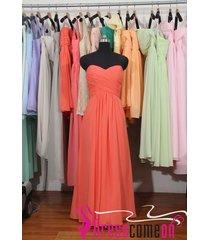 custom coral bridesmaid dress long coral chiffon prom evening brides dress bon28
