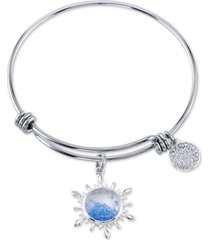 disney frozen 2 blue crystal snowflake charm bangle bracelet in stainless steel fine silver plate