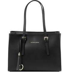 tuscany leather tl141518 tl bag - borsa a mano in pelle saffiano nero