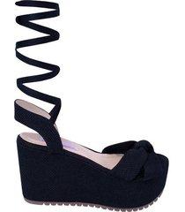 sandalia plataforma vasco mercedes campuzano de mujer-negro