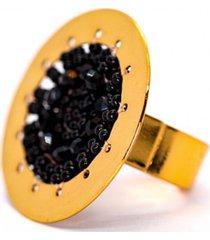 anillo imperial baño oro tejido mano negro bijulovers