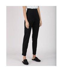 calça feminina cintura alta em suede preta