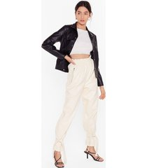 womens breaking news faux leather paperbag pants - cream