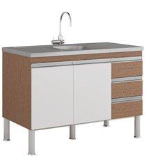 gabinete para cozinha ibiza 80x114cm amêndoa e branco