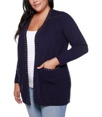 belldini black label plus size embellished long sleeve pocketed cardigan