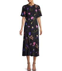 elie tahari women's ada floral georgette dress - stargazer - size 2