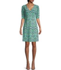 tommy hilfiger women's printed shift dress - aqua sky multicolor - size 2