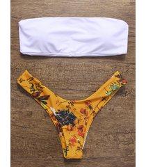 white &yellow floral print bandeau bikini