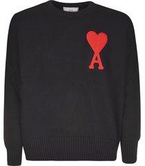ami alexandre mattiussi chest logo ribbed sweatshirt