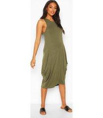 maternity drape midi dress, khaki