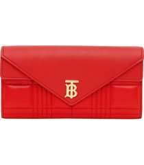 burberry monogram quilted continental wallet - red
