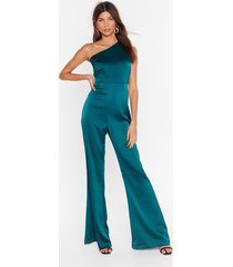 womens taking flare of business one shoulder jumpsuit - green