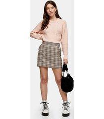 brown check mini skirt - brown