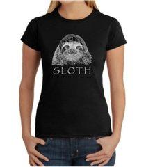 women's word art t-shirt - sloth