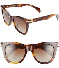 rag & bone 52mm polarized cat eye sunglasses in dark havana/brown grad at nordstrom