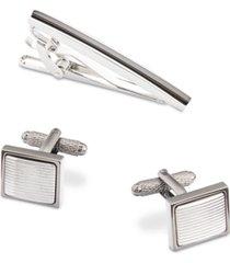 perry ellis men's two-tone tie bar & cuff links set