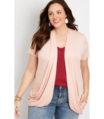 maurices plus size womens pink short sleeve slouchy pocket cardigan