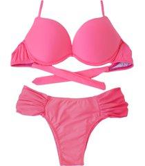 biquíni bojo bolha alça estreita divance calcinha lateral dupla franzida rosa neon