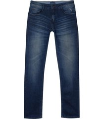 calca dudalina jeans stretch washed blue dirty masculina (jeans escuro, 50)