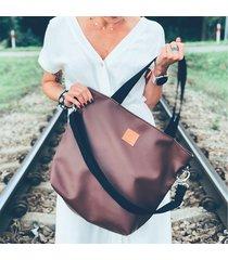 duża torba shopperka mili duo - czekoladowy brąz