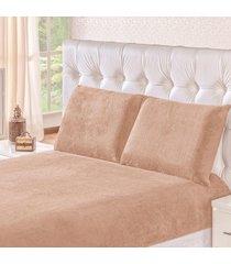 jogo de cama soft caqui casal padrão 03 peças - manta microfibra