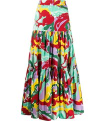 multicolored tiered maxi skirt