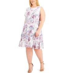 connected plus size sleeveless lace tiered-ruffle fit & flare dress
