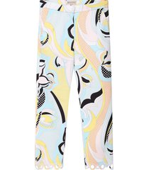 emilio pucci light blue girl pants with colorful iconic print