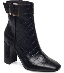 croco look high heel boot shoes boots ankle boots ankle boot - heel svart tommy hilfiger