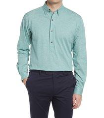 men's alton lane harris tailored fit popover shirt, size medium - green
