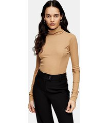 *camel roll neck sweater by topshop boutique - camel
