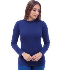 blusa dama cuello tortuga en jersey licra manga larga azul oscuro  s bocared juno 2702173